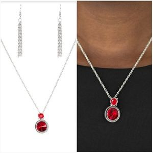DATE NIGHT DAZZLE RED NECKLACE/EARRING SET